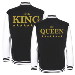 ZESTAW 2x Kurtka Bluza College Baseball dla par - The KING His Queen GOLD -