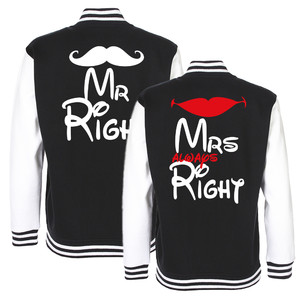 ZESTAW 2x Kurtka Bluza College Baseball dla par - Mr Right Mrs always Right -