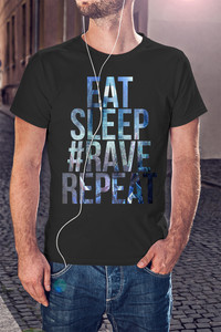 Koszulka Męska EAT SLEEP RAVE #RAVE Repeat !